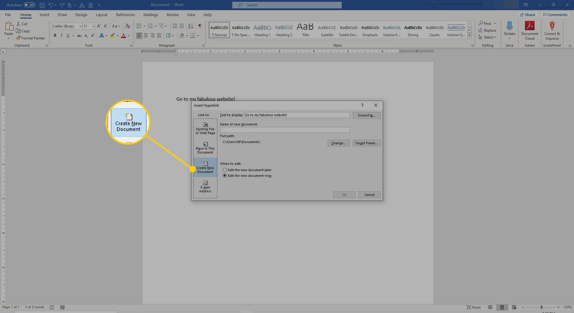 Create New Document tab in Word