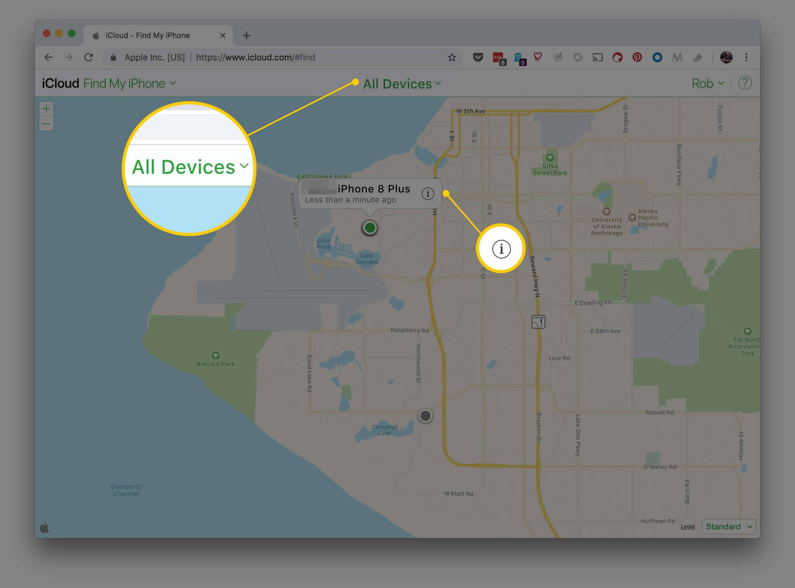 Find My iPhone page in Chrome highlighting All Devices and Information buttons