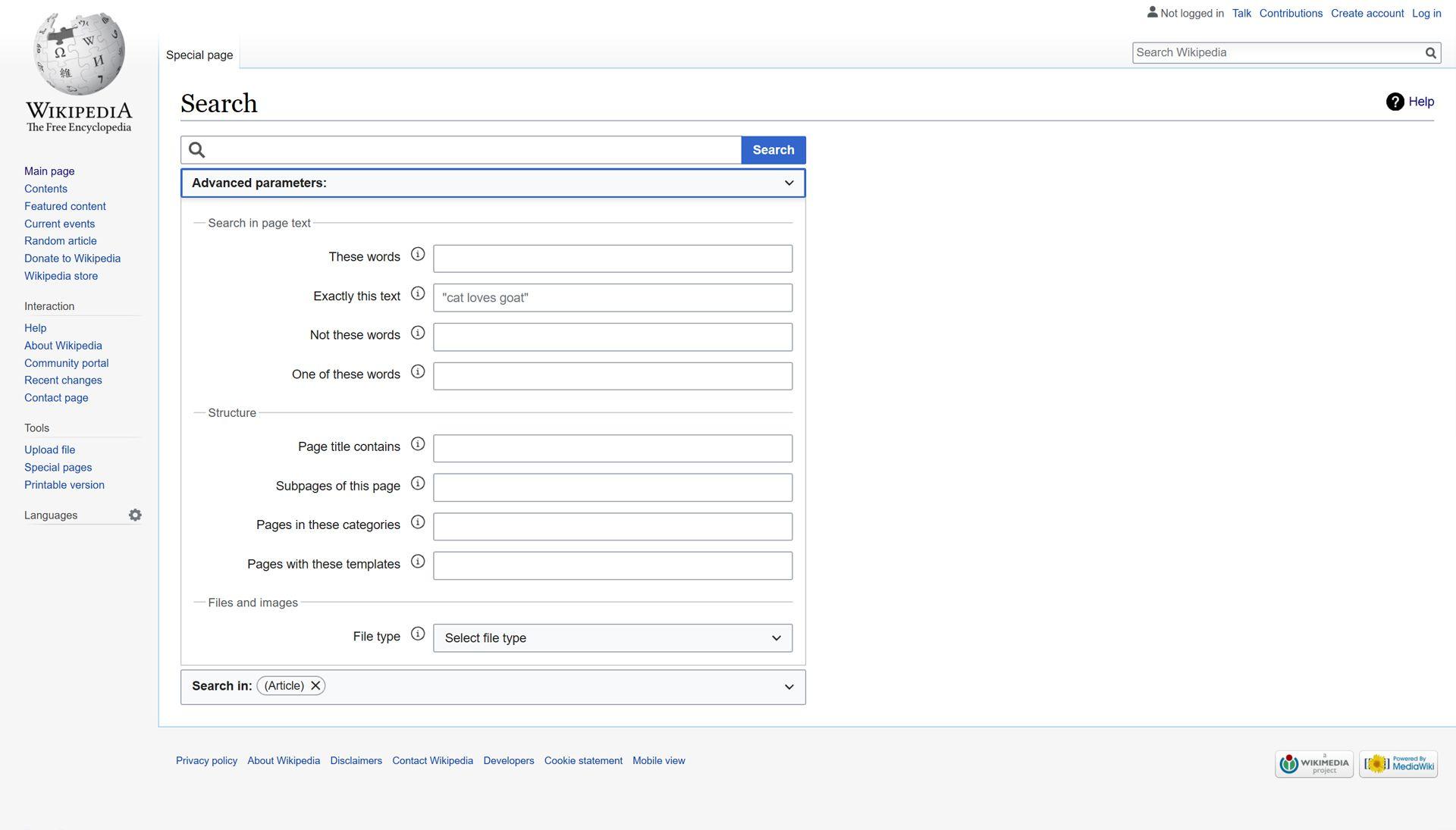 Wikipedia Search Page.