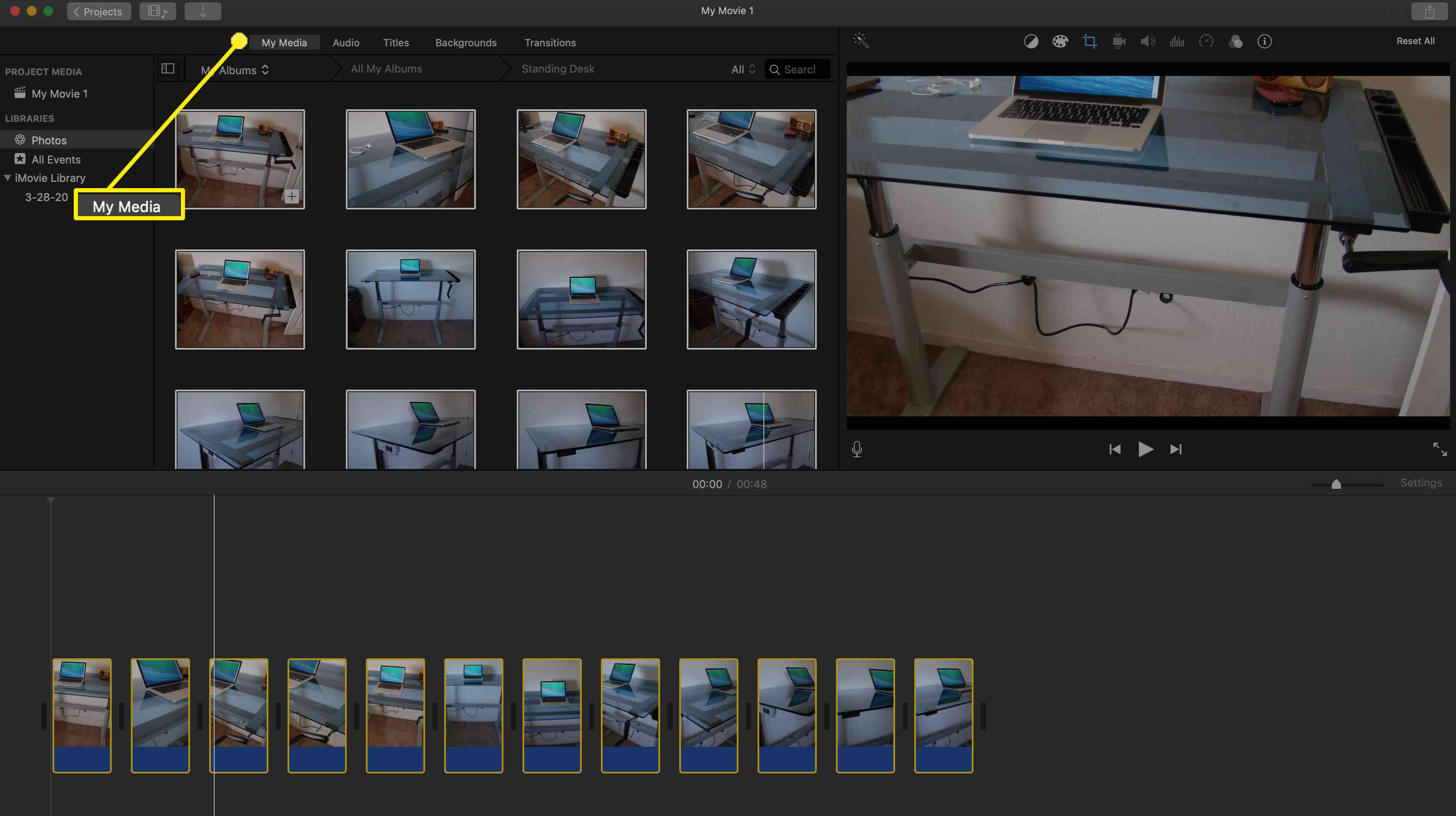 Adding photos to an iMovie project.