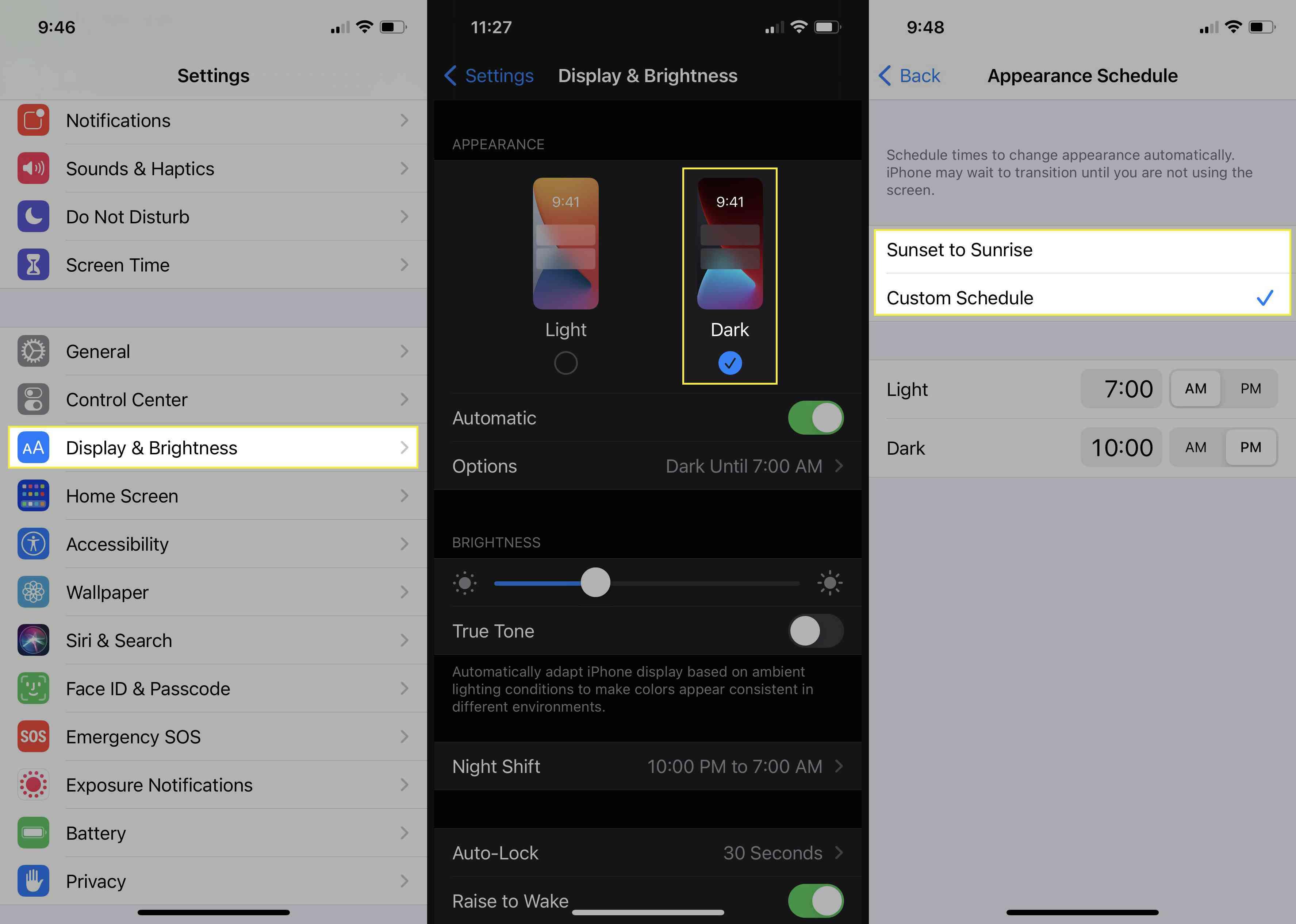 Enabling Dark Mode on iOS.