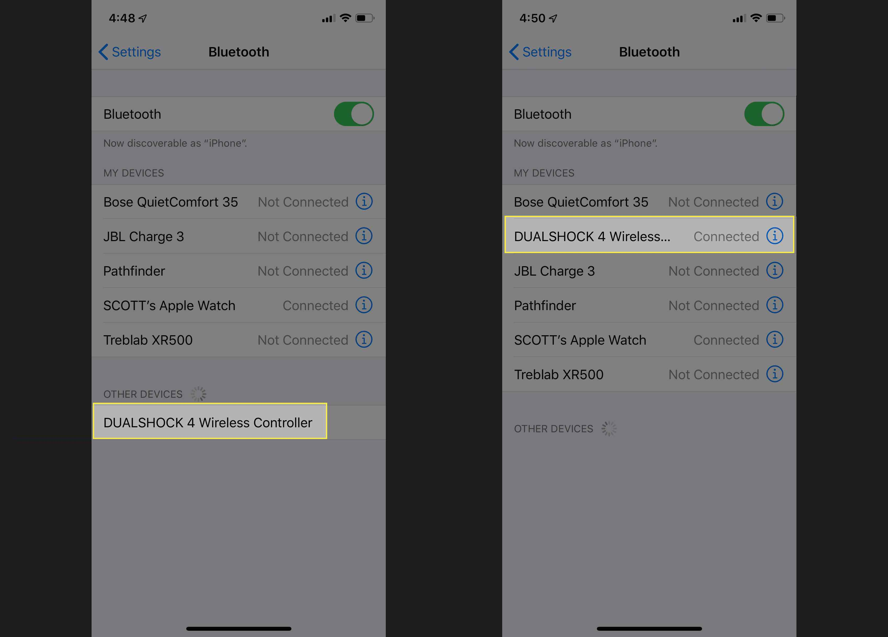 Linking a DualShock 4 to an iPhone