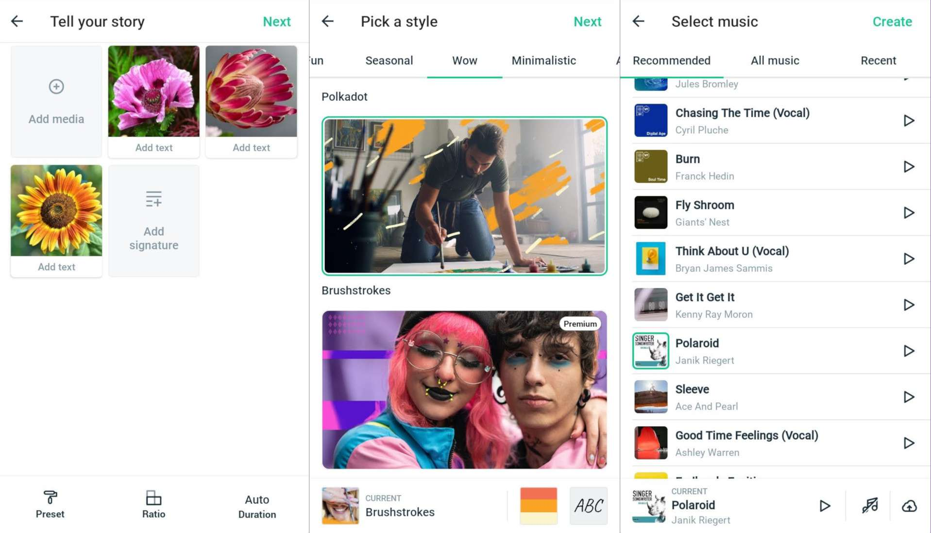Add photos, choose a style, and select music for a Magisto slideshow