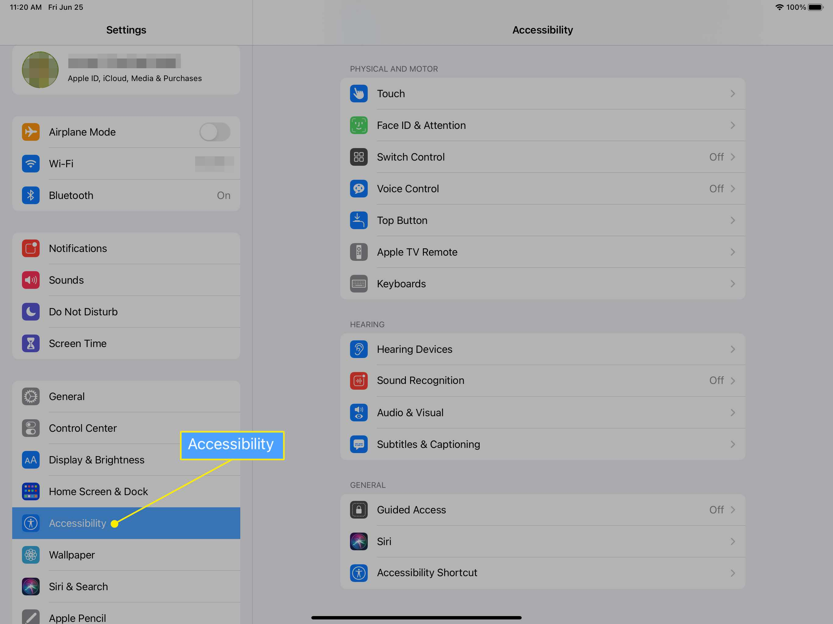 iPad settings sidebar with Accessibility selected