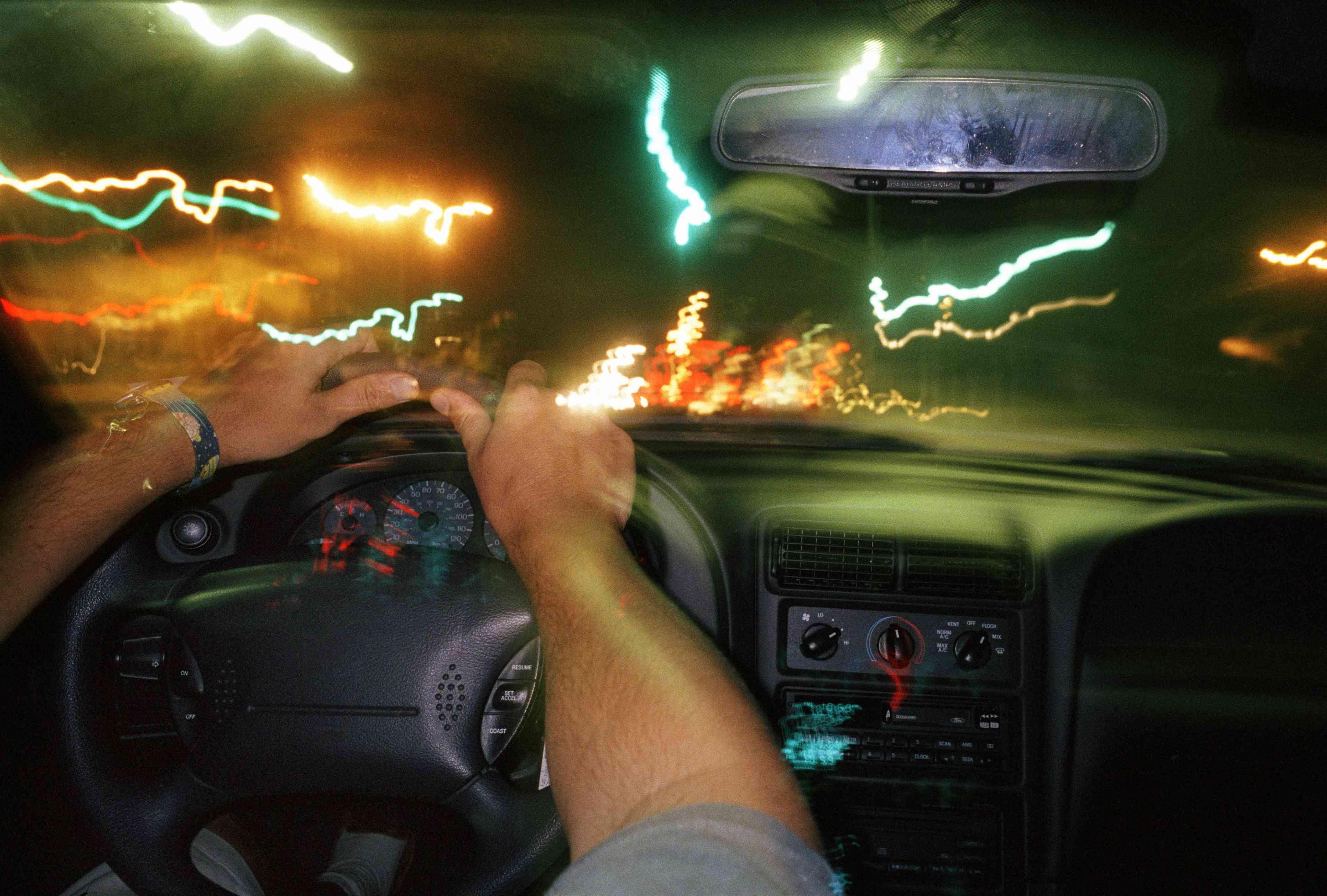 Flickering lights in a car.