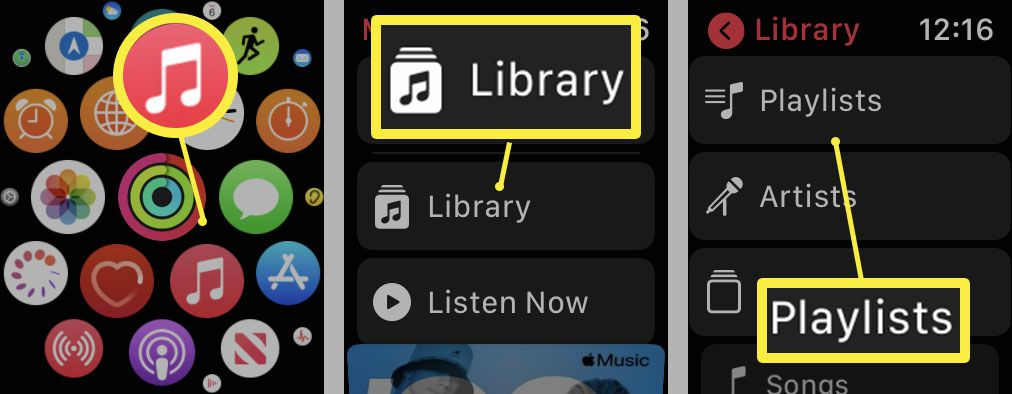 Steps required on Apple Watch to add music