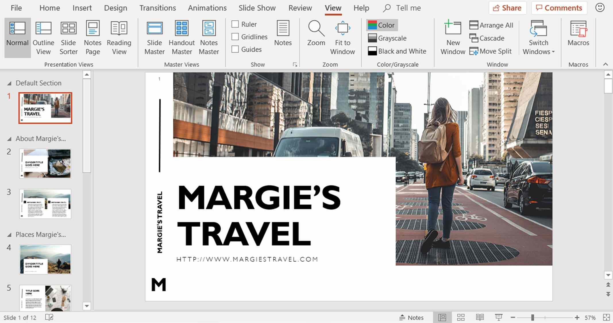 A screenshot showing the sections added to a PowerPoint presentation