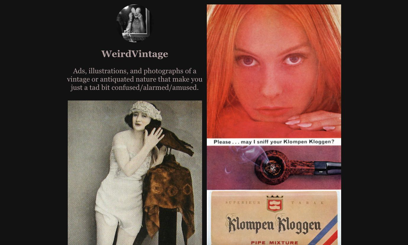 A screenshot of Weird-Vintage.com.