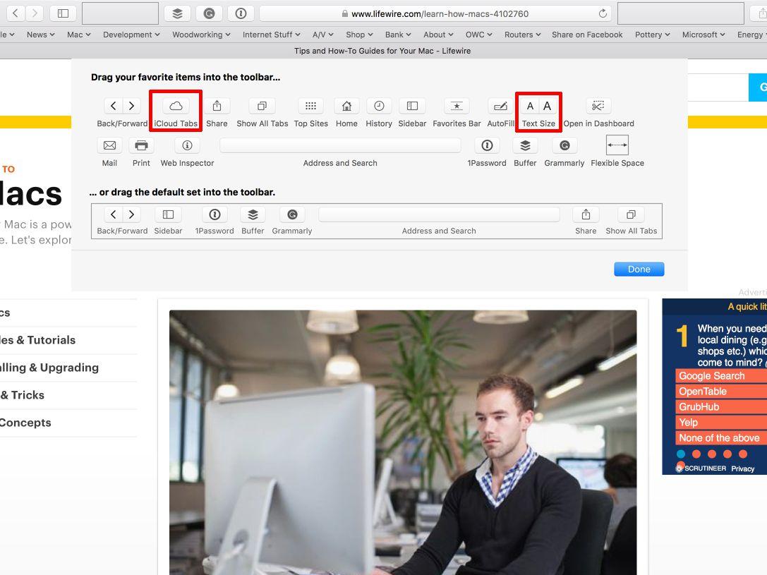 Customize Safari Toolbar, Bookmark, Tab and Status Bars