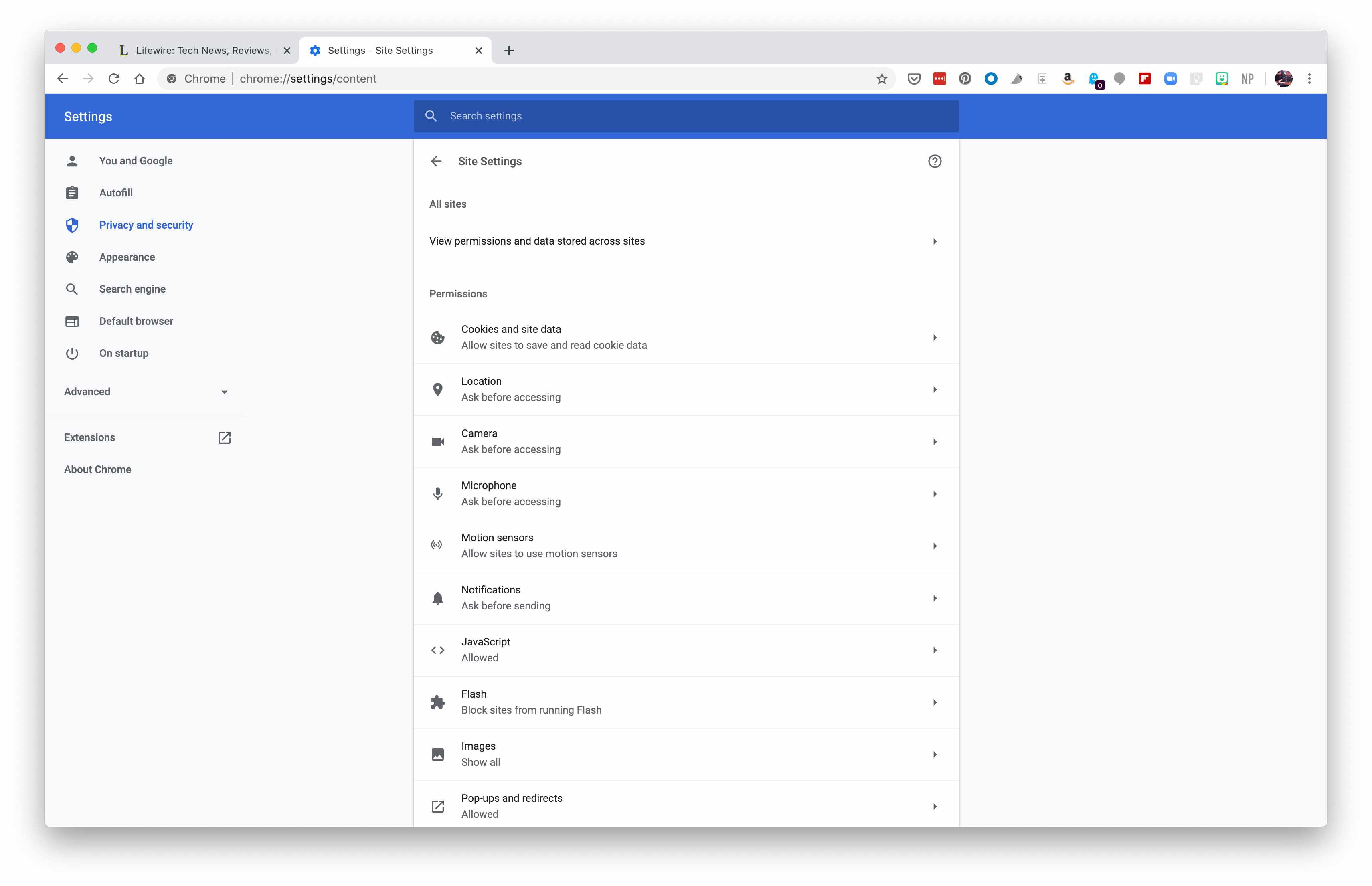Chrome browser site settings.