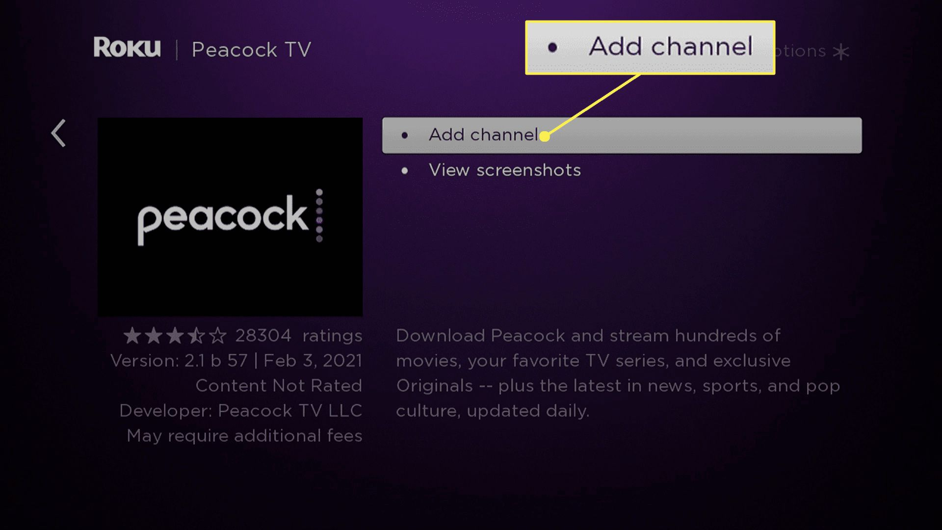 Add Chanel highlighted while adding to Peacock to Roku