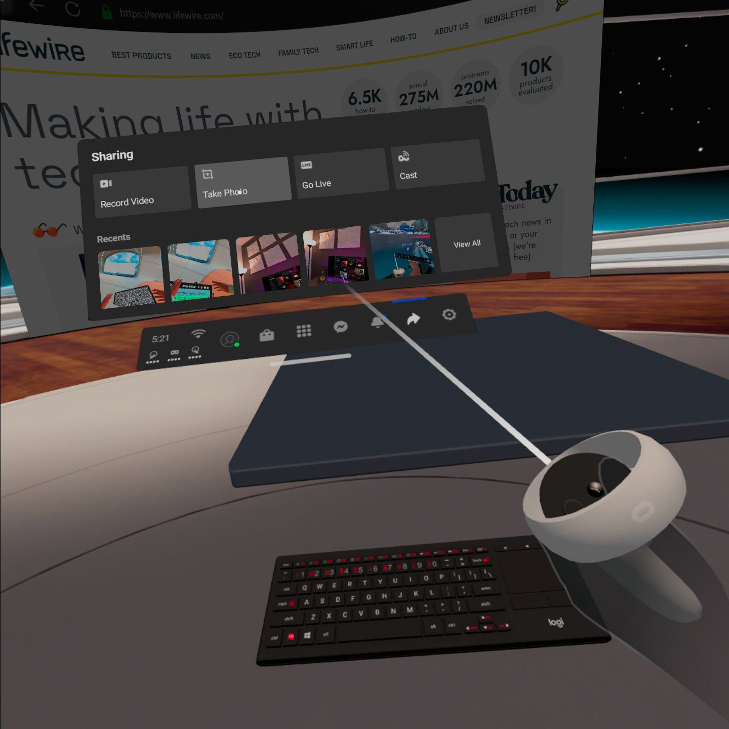Using a web browser and the Logitech K830 keyboard in Oculus VR