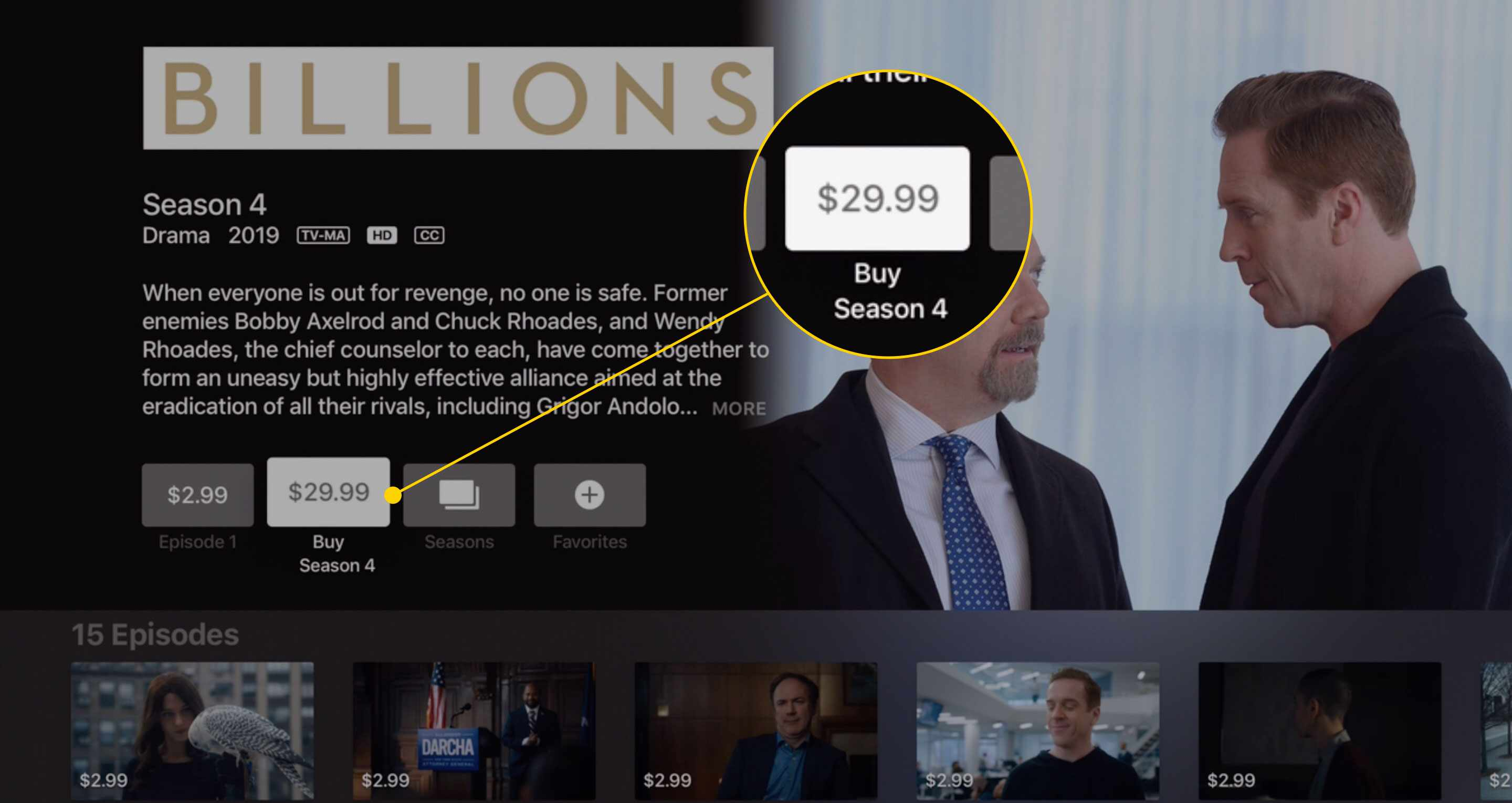A TV show page open in iTunes with the Buy Season button highlighted