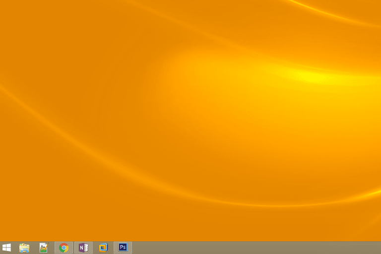 Screenshot of the bottom-left corner of the Desktop in Windows 8