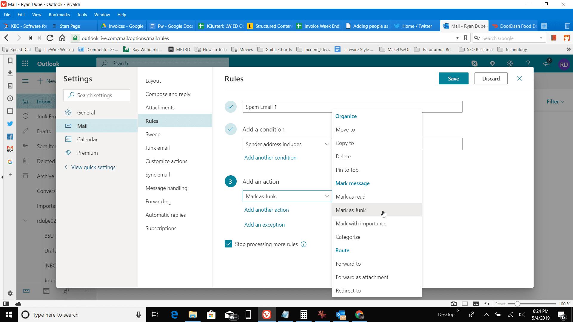 Screenshot of Mark as junk in Outlook online