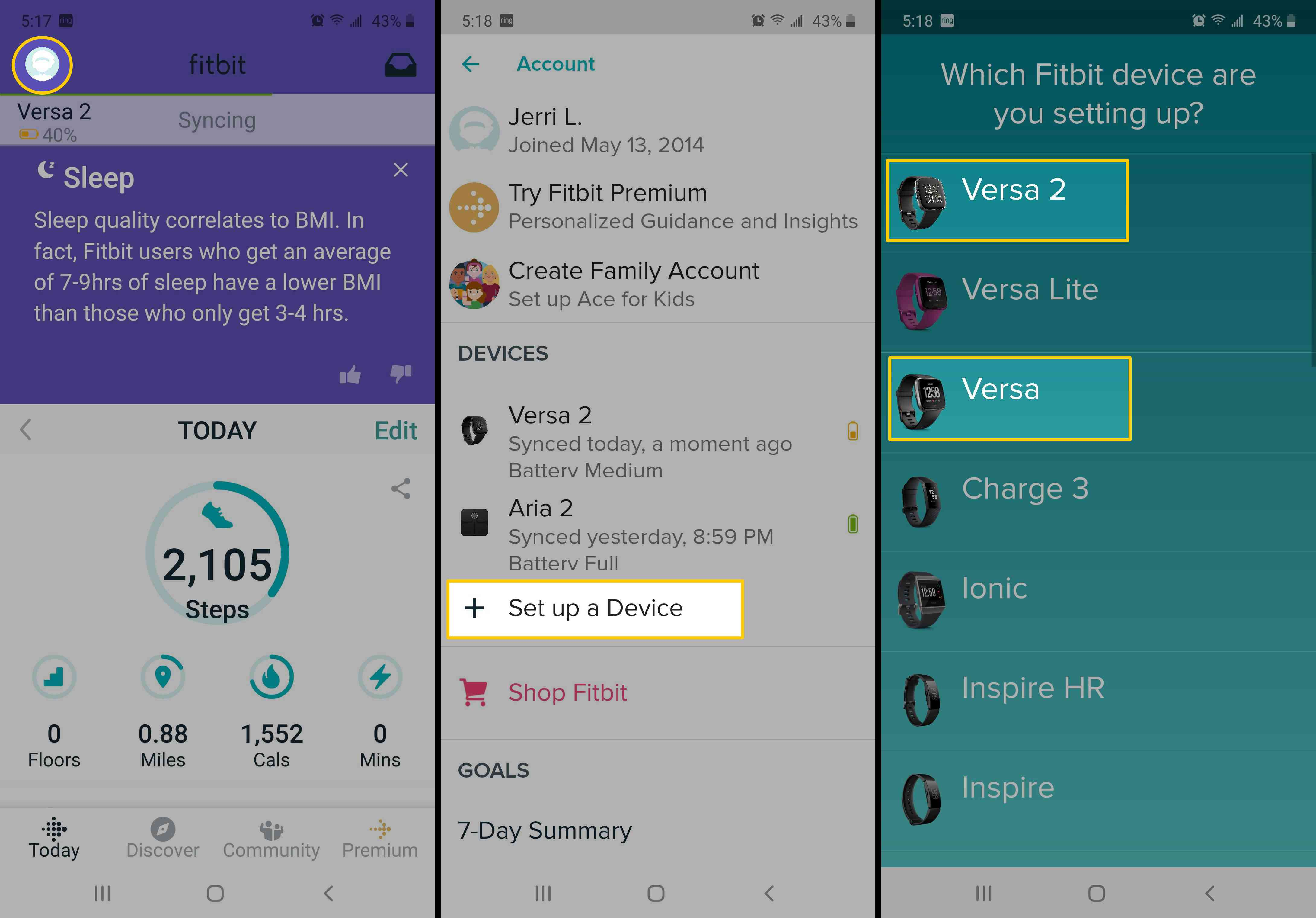 Screenshots showing how to add a new device to an existing Fitbit account.