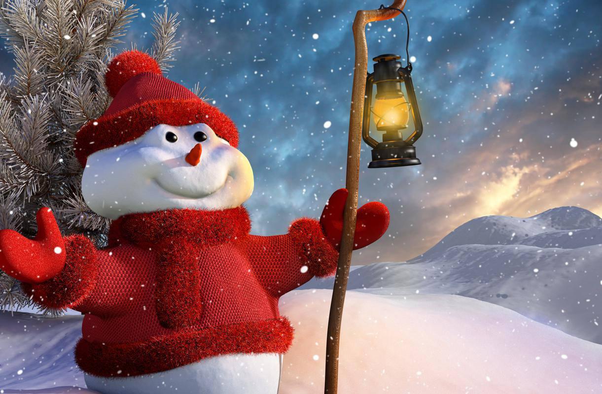Snowman with Lantern wallpaper