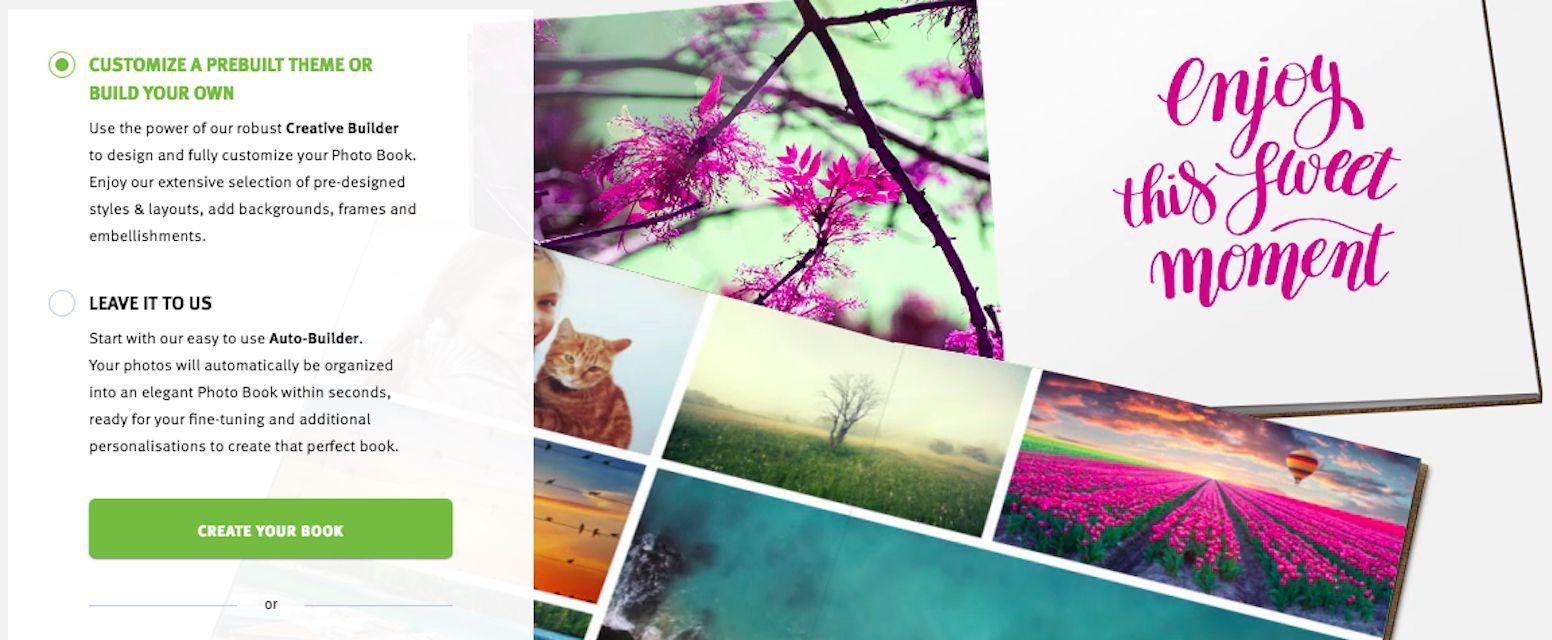 Selection screen to make a photo book.