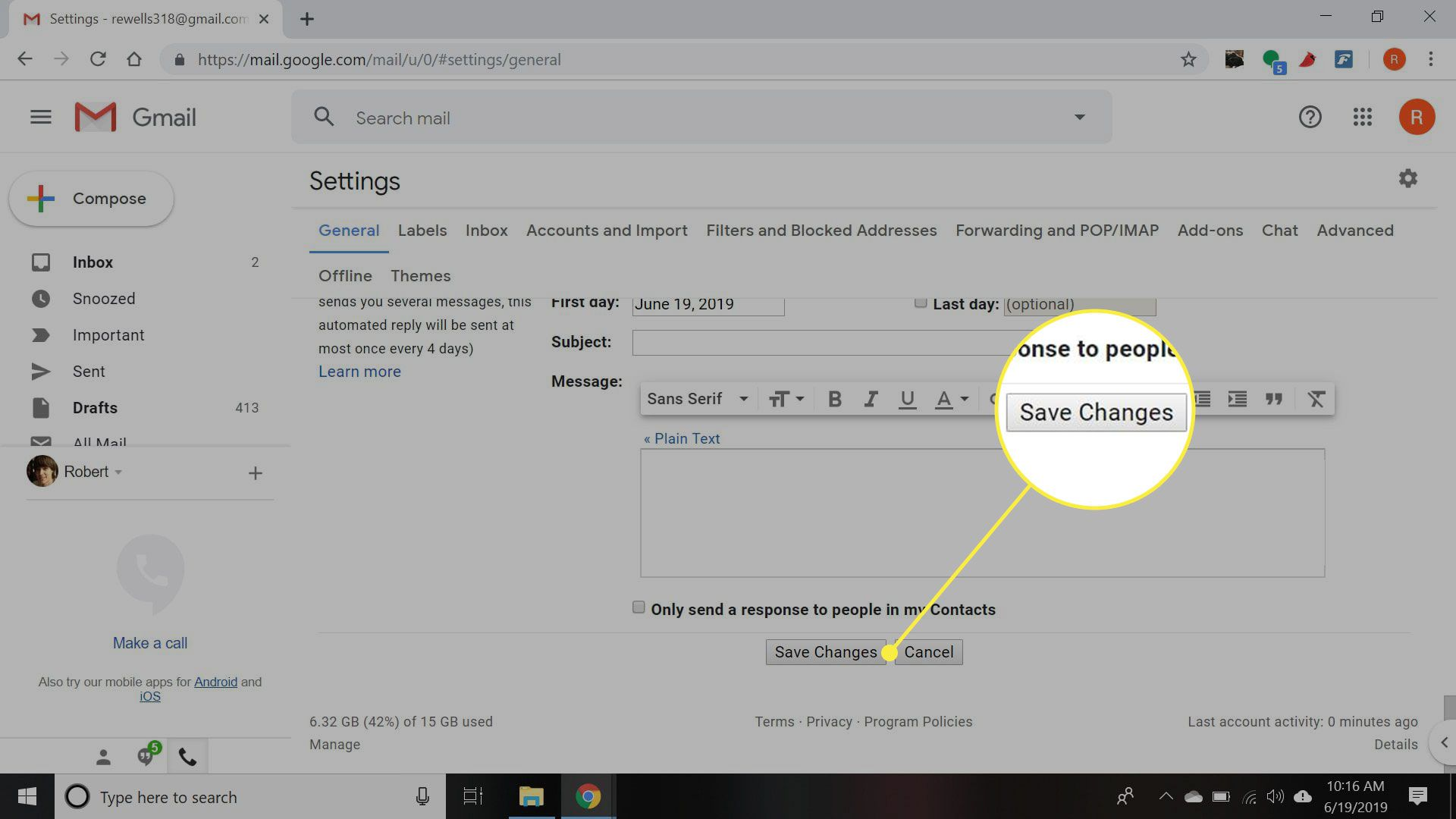 Gmail settings with the Save Changes button highlighted