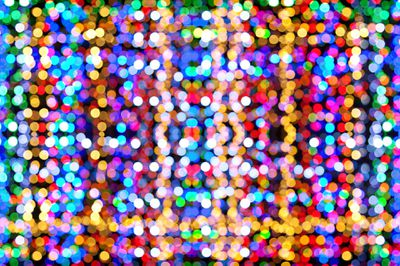 Different colored spots of light.