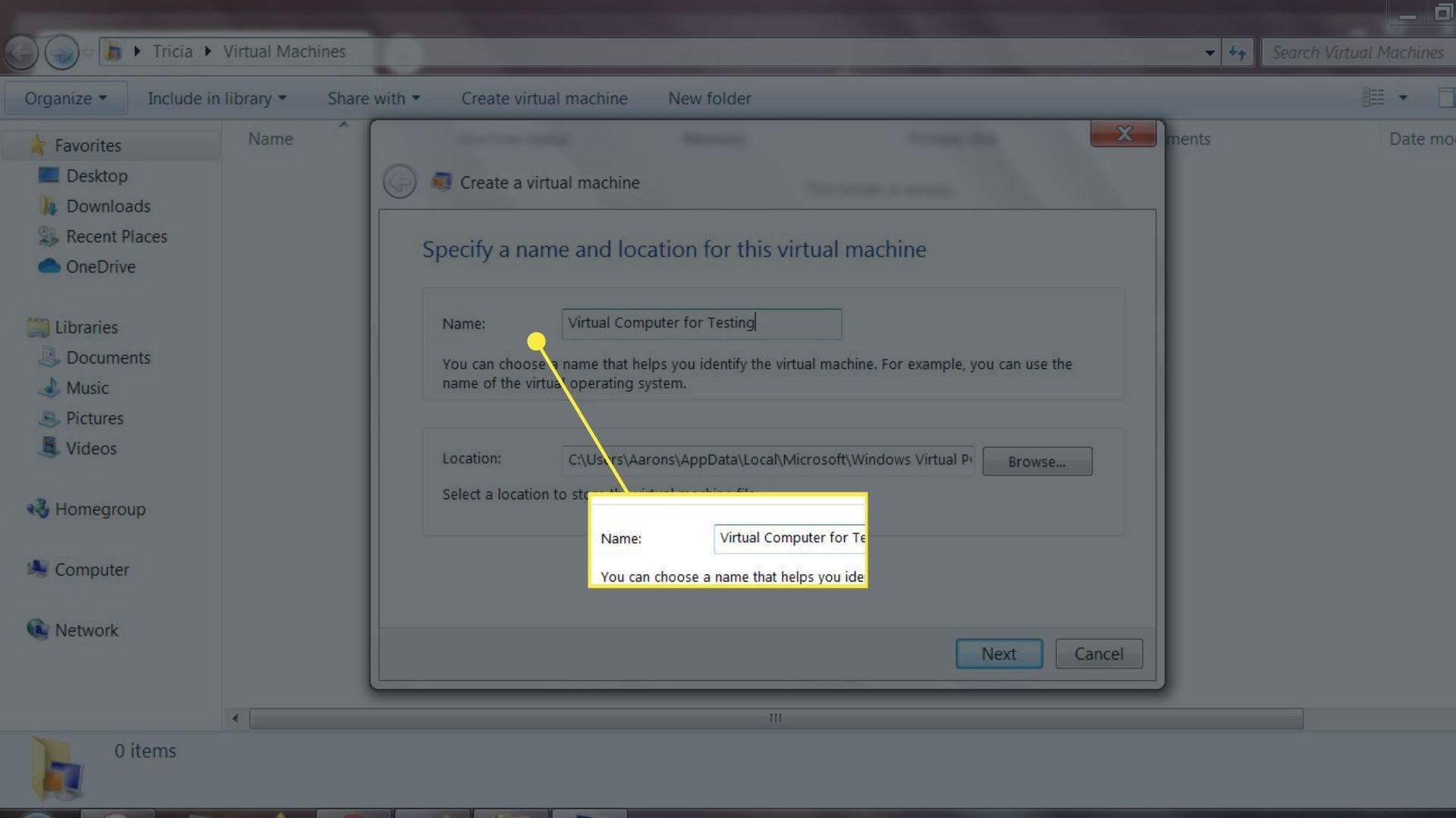 Name field in Create Virtual Machine