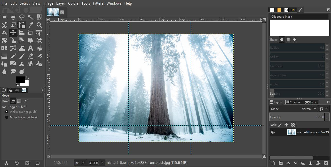 GIMP image with guidelines