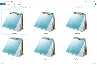 Several GITIGNORE files in Windows 10 that open with Notepad