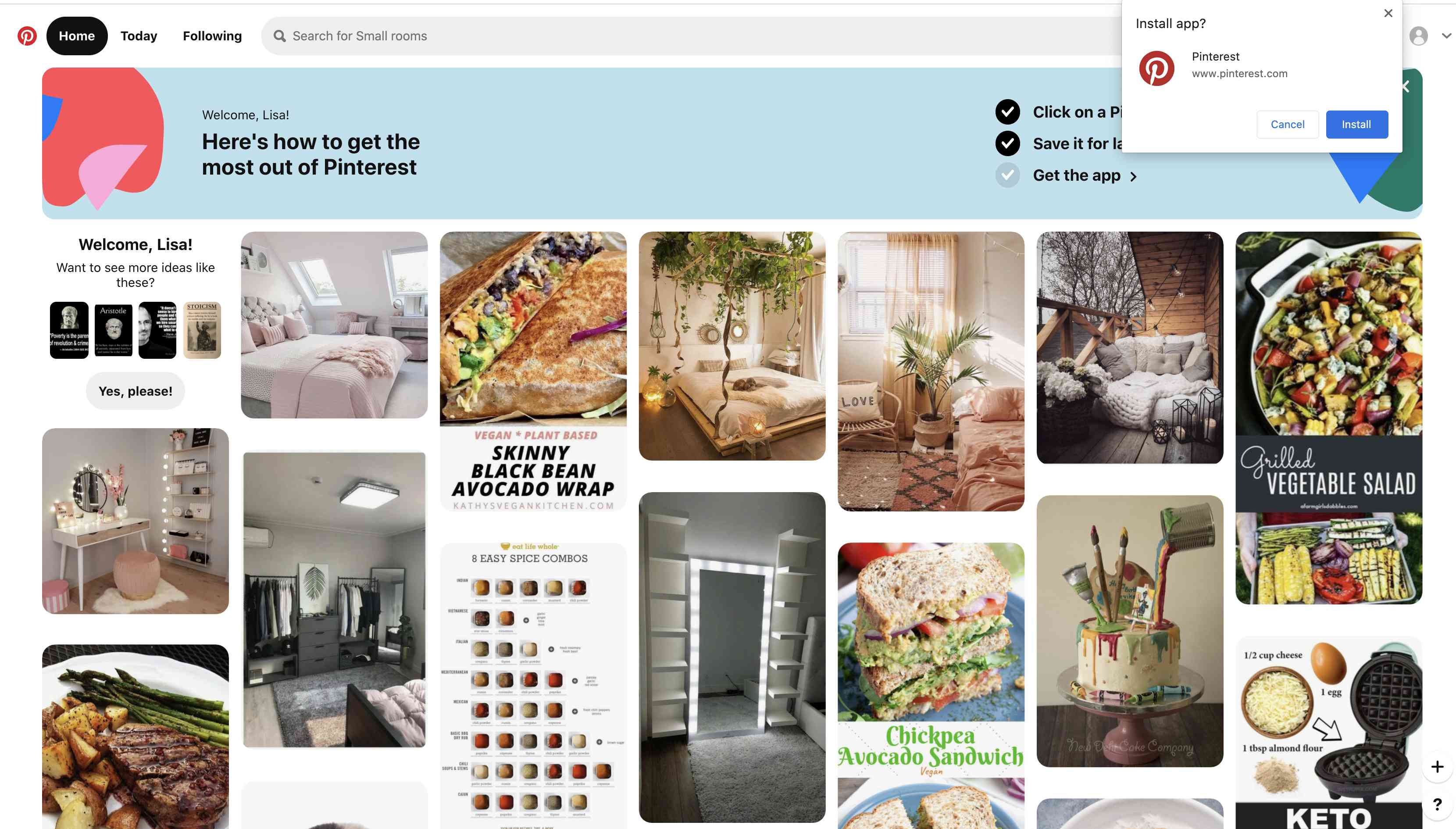 Select Install the Chrome app so a Pinterest tab will run in the background whenever you're in Chrome.