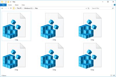 Screenshot of several REG files in Windows 10