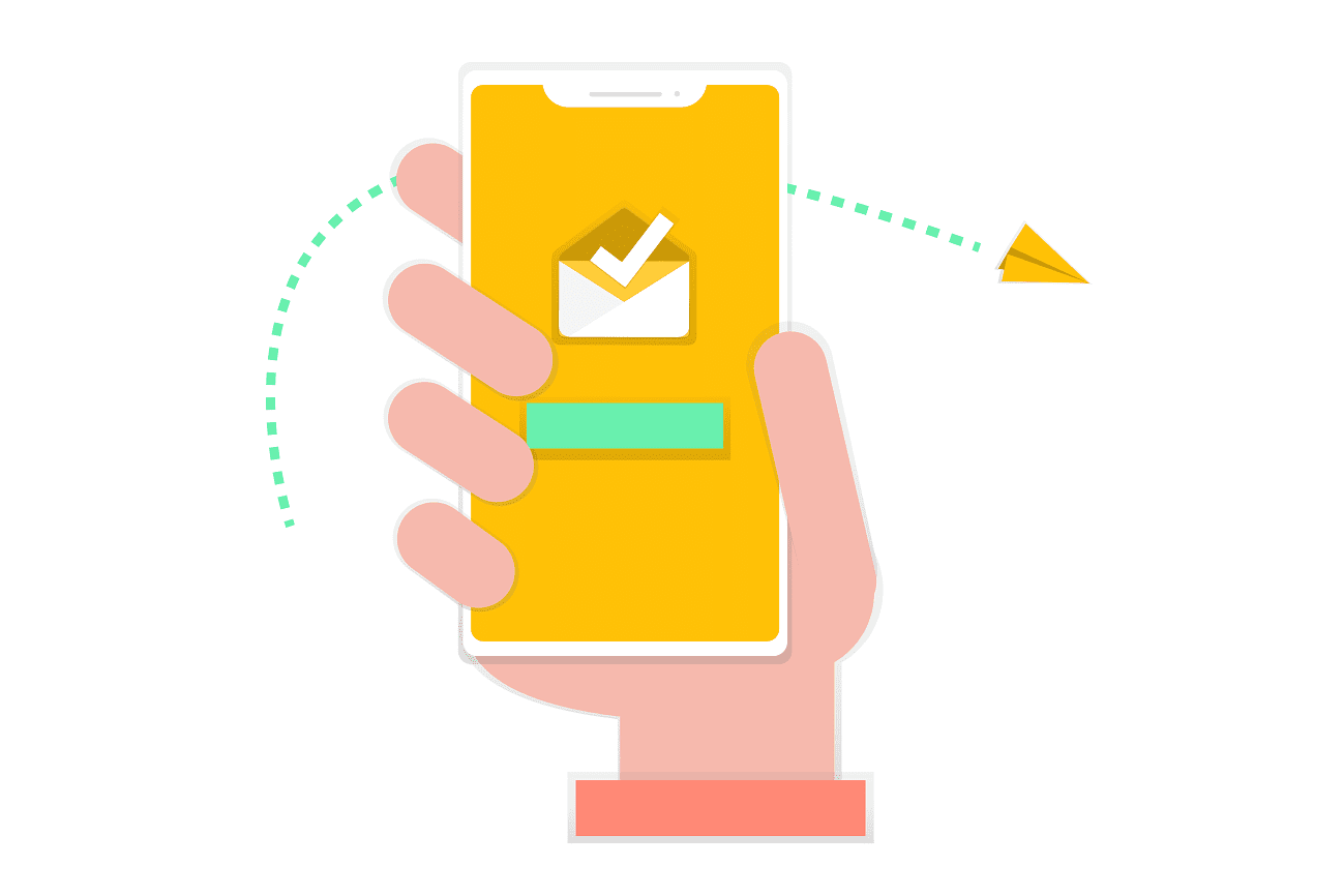 Email illustration on a smartphone