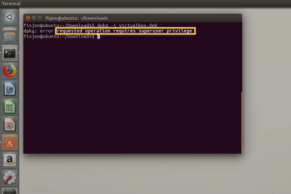 Superuser error in Ubuntu