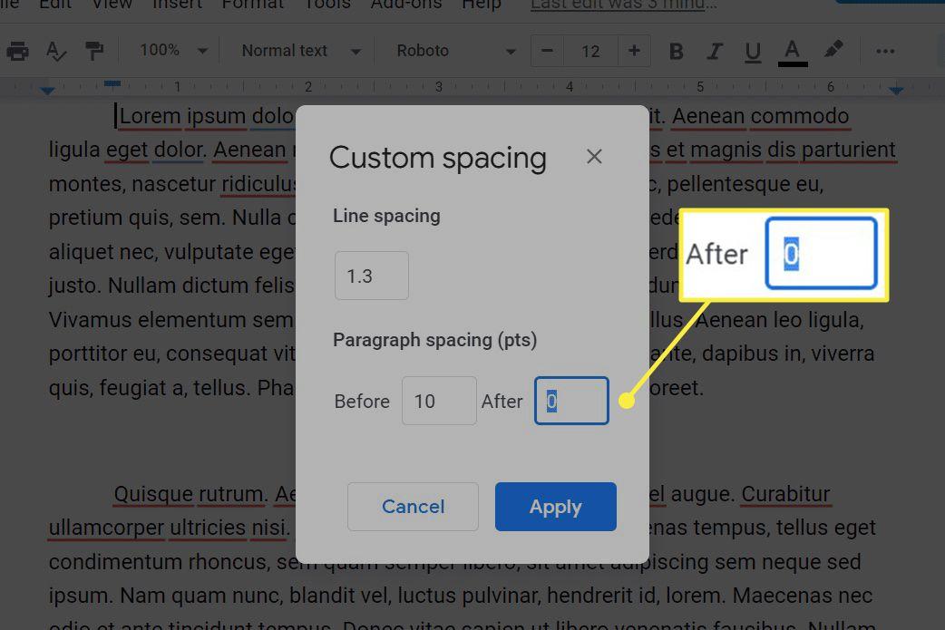 Google Docs custom line and paragraph spacing settings.