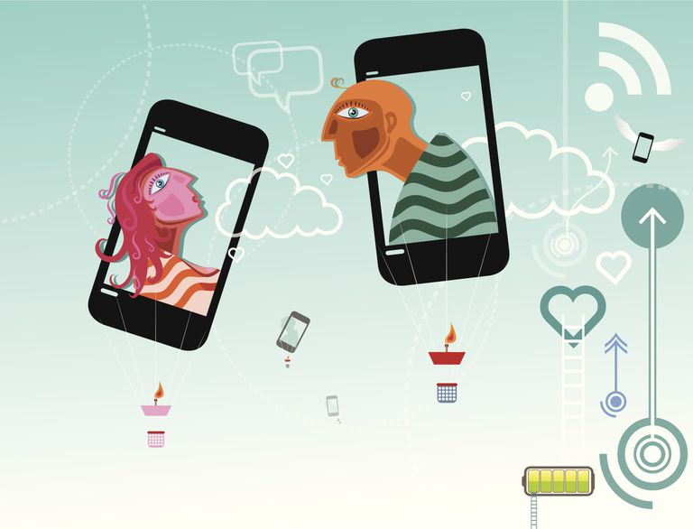 Illustrating depicting Mobile Dating as two phones have man and woman in them making kissing faces