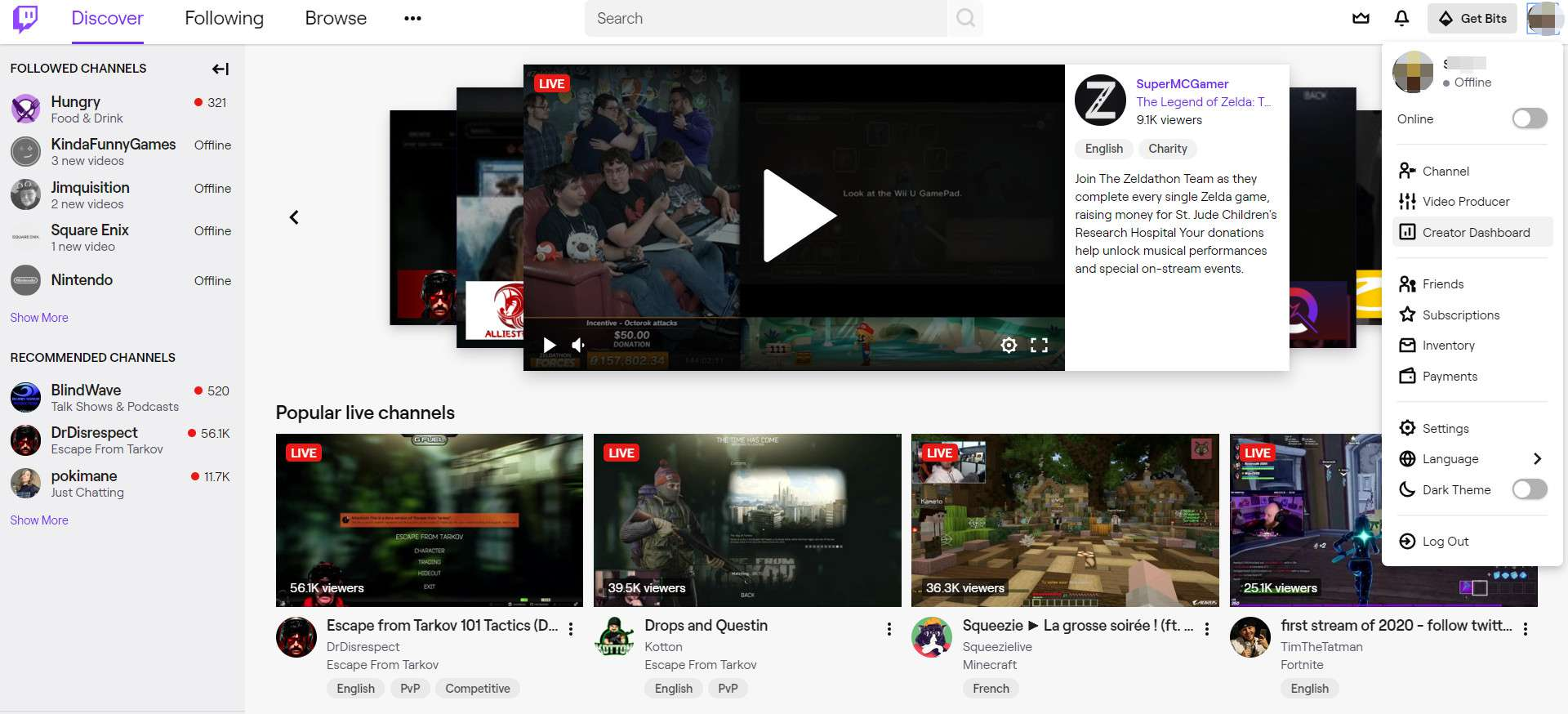 Screenshot of the Twitch homepage with the profile menu displayed