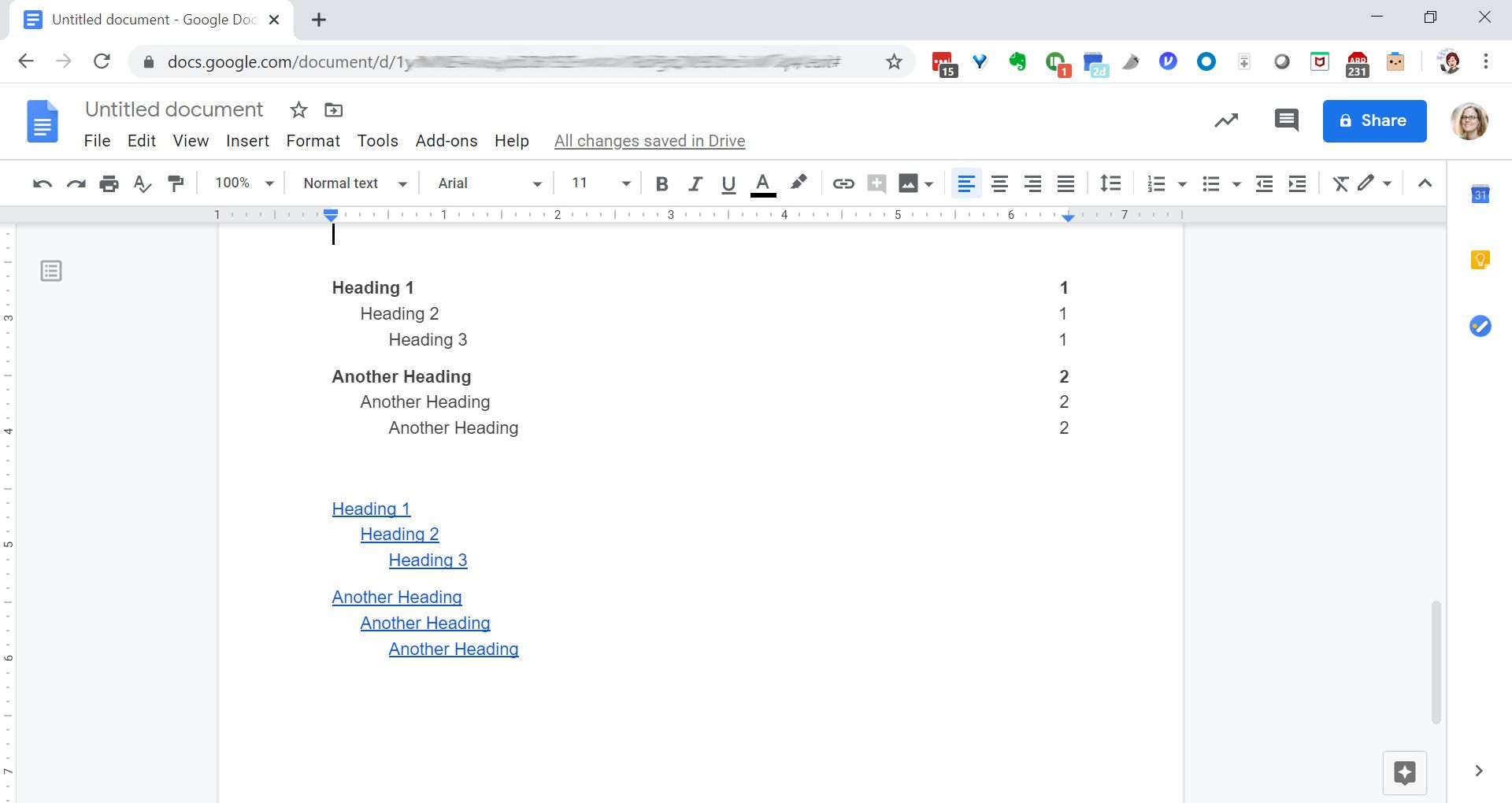 Inserting a table of contents in Google Docs.