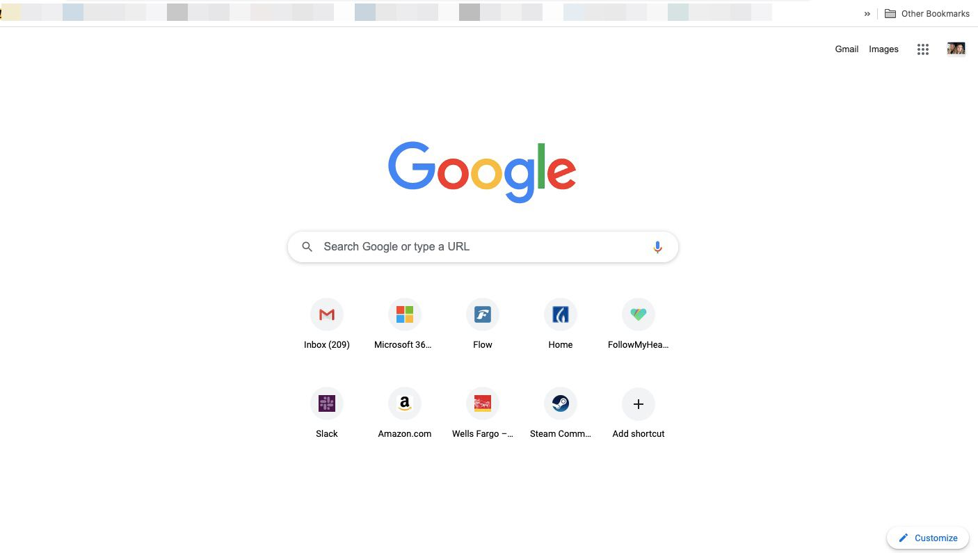 Chrome's default new tab page
