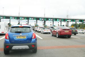 Vehicles approaching the Severn bridge toll booth