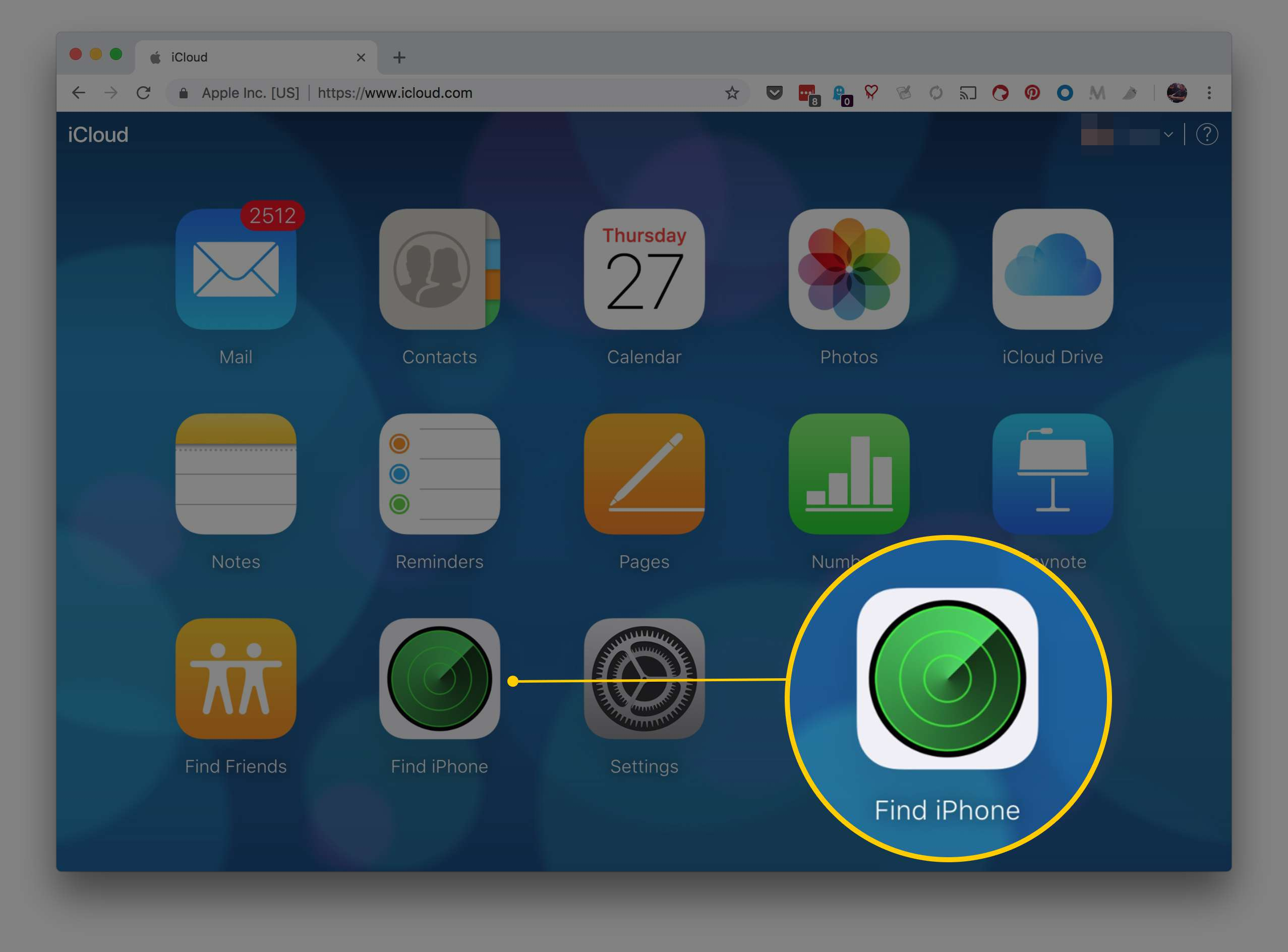 The iCloud.com webpage in Chrome highlighting Find iPhone icon