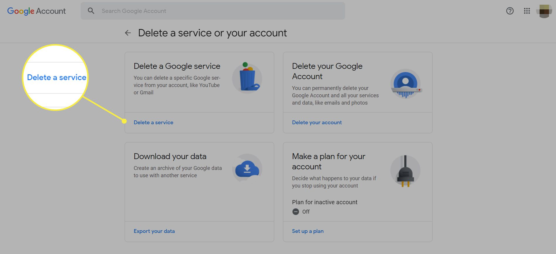 The Google Delete a service or your account page with 'Delete a service' highlighted