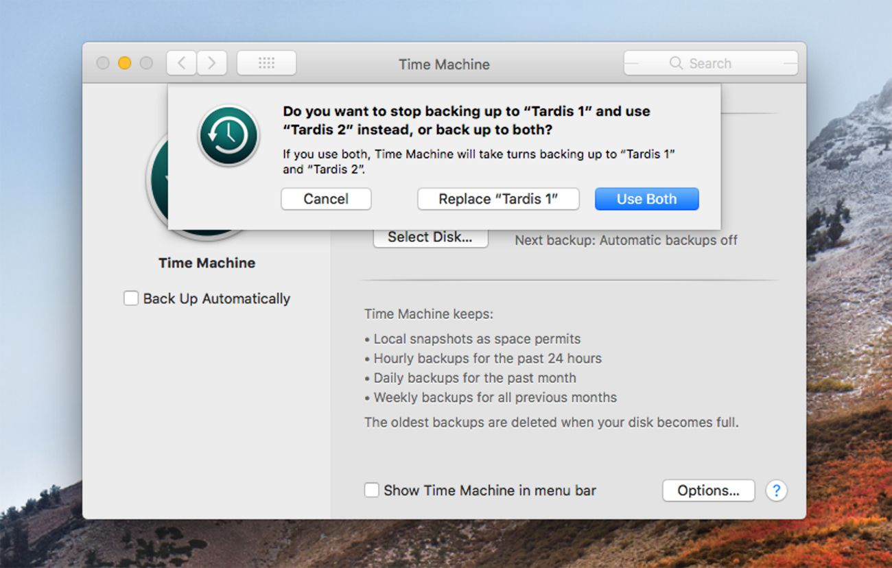 Time Machine can use multiple disks