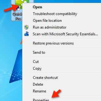 Open Application Properties to Set Windows Compatibility Mode