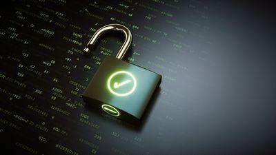 An open digital lock on a black background