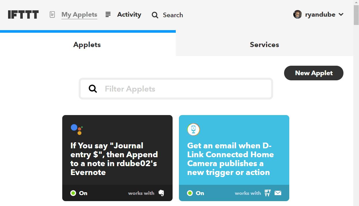 Screenshot of adding new applet in IFTTT