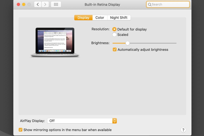 macOS Displays > Display