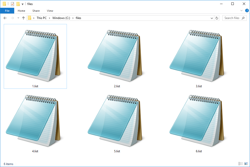 Screenshot of several LIST files in Windows 10 that open with Notepad