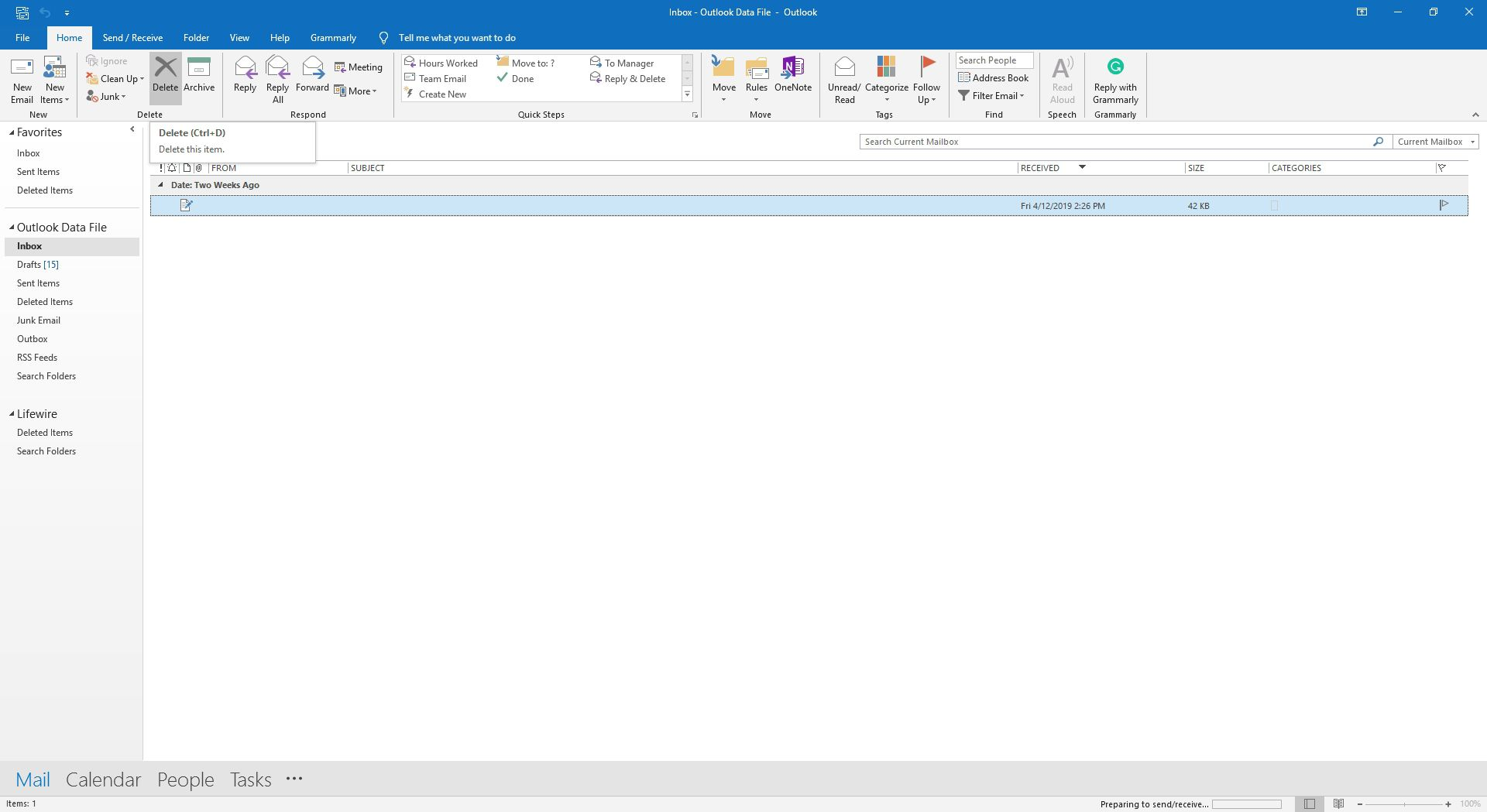 The Delete group in Outlook.