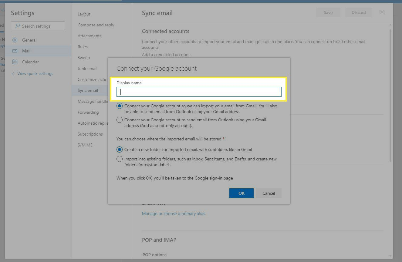 Outlook Connect Google account window with Display Name highlighted