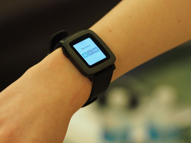 Pebble smartwatch on a wrist