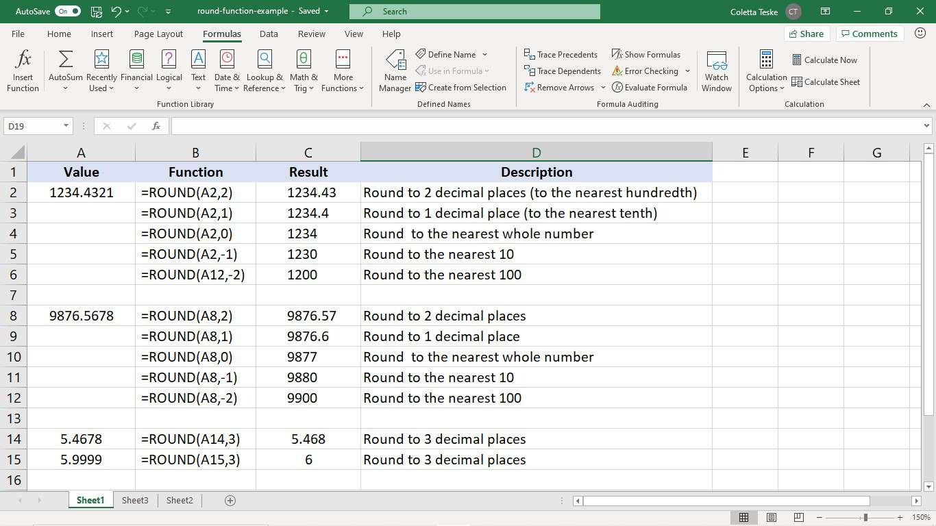 Examples of the ROUND function in Excel