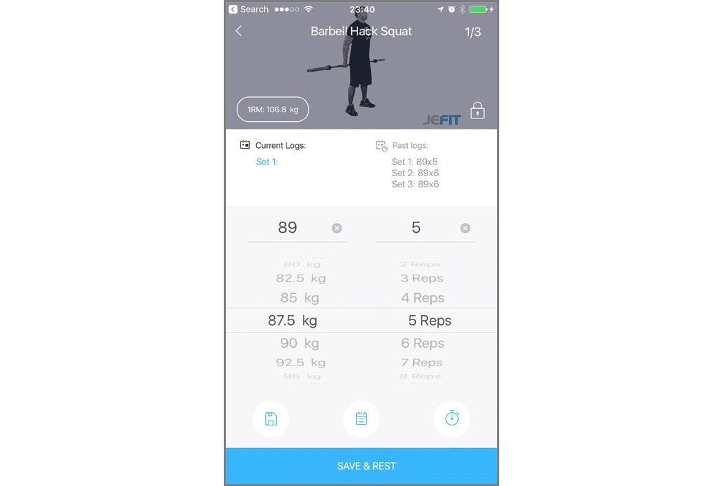 the exercise log on the jefit workout log app